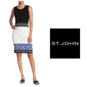 St. John Kiara Knit Sleeveless Sheath Dress Sz 12